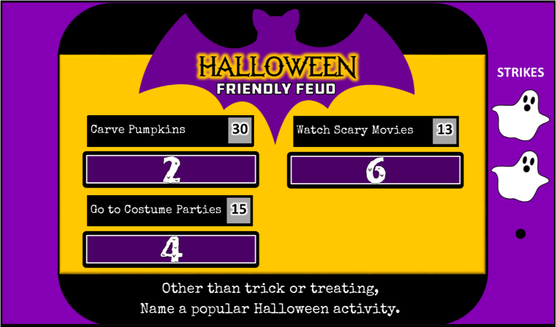 image about Family Feud Printable titled Halloween Relatives Feud Motivated Celebration Recreation - Interactive Powerpoint!