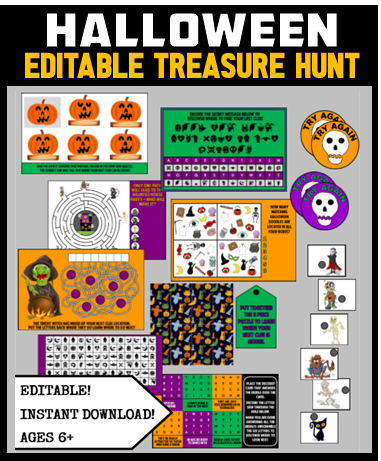 Kids Halloween Treasure Hunt 2 - Editable!
