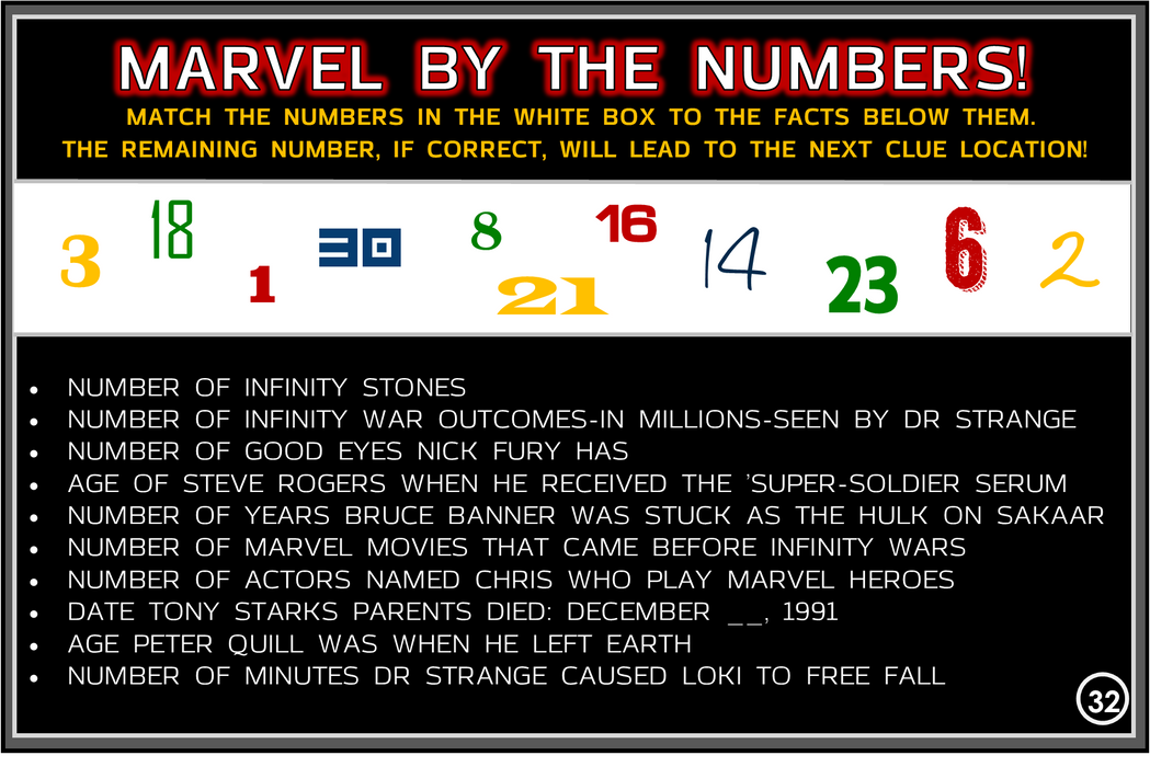 Avengers Infinity War Trivia Treasure Hunt