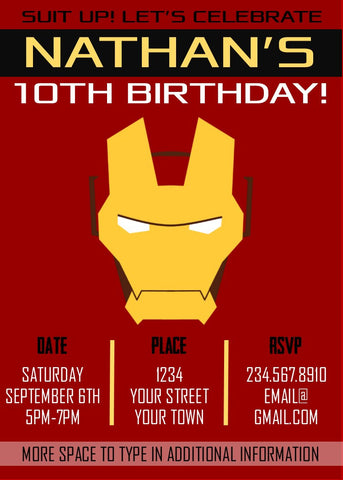 Ironman Superhero Party Invitation - Editable!