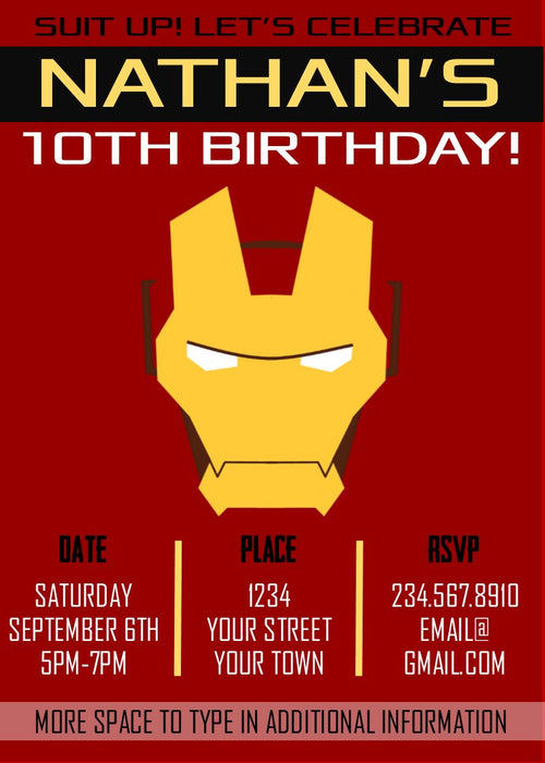 Ironman Superhero Party Invitation