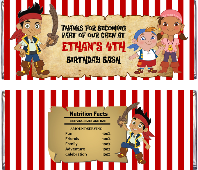 Jake and the Neverland Pirates Party Printables  PERSONALIZED