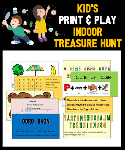 Indoor Riddles,Puzzles, & Clues Treasure Hunt