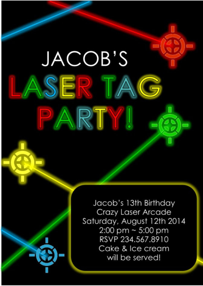 Laser Tag Party Invitation Editable Partygamesplus