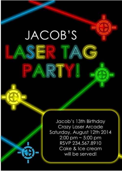 Laser Tag Party Invitation - EDITABLE