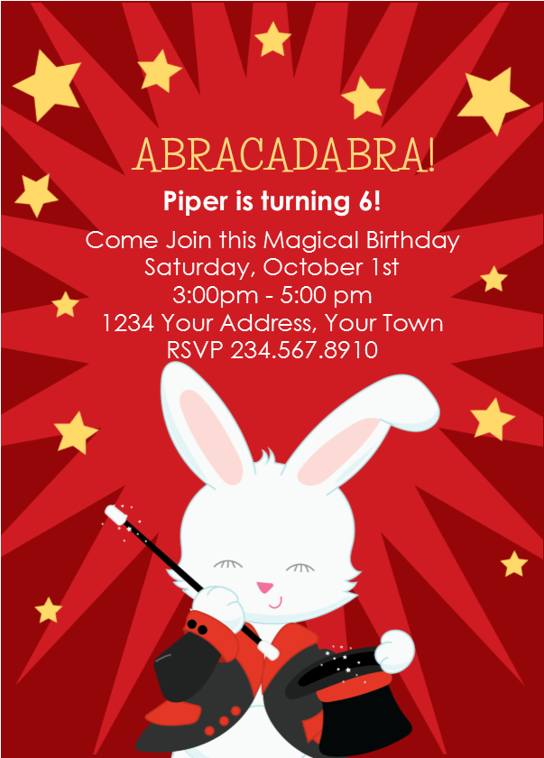 Magic Magician Party Invitation 2 - Editable!