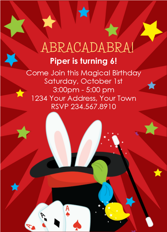 Magic Magician Party Invitation 3 - Editable!