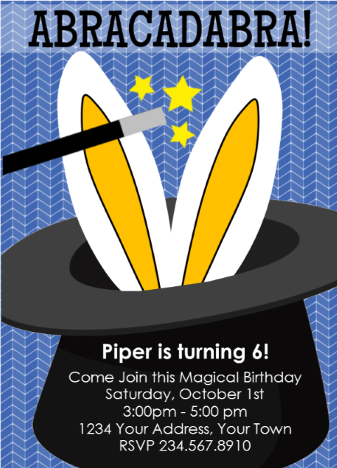 Magic Magician Party Invitation 5 - Editable!
