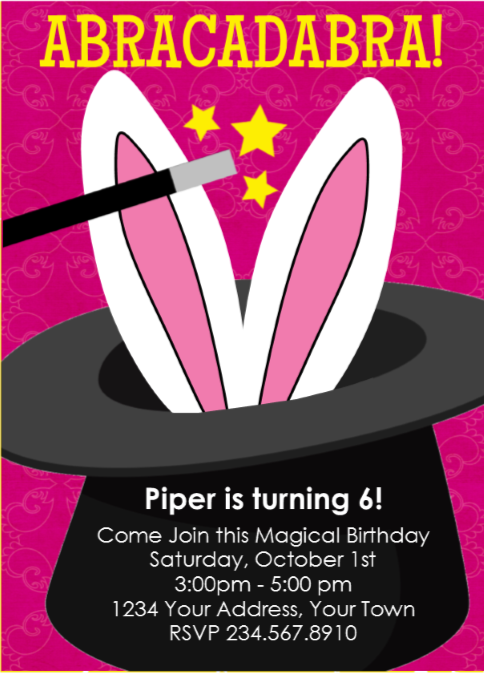 Magic Magician Party Invitation 4 - Editable!