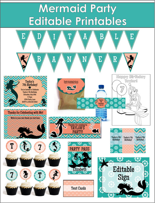 Mermaid Under the Sea Party Printables - EDITABLE!