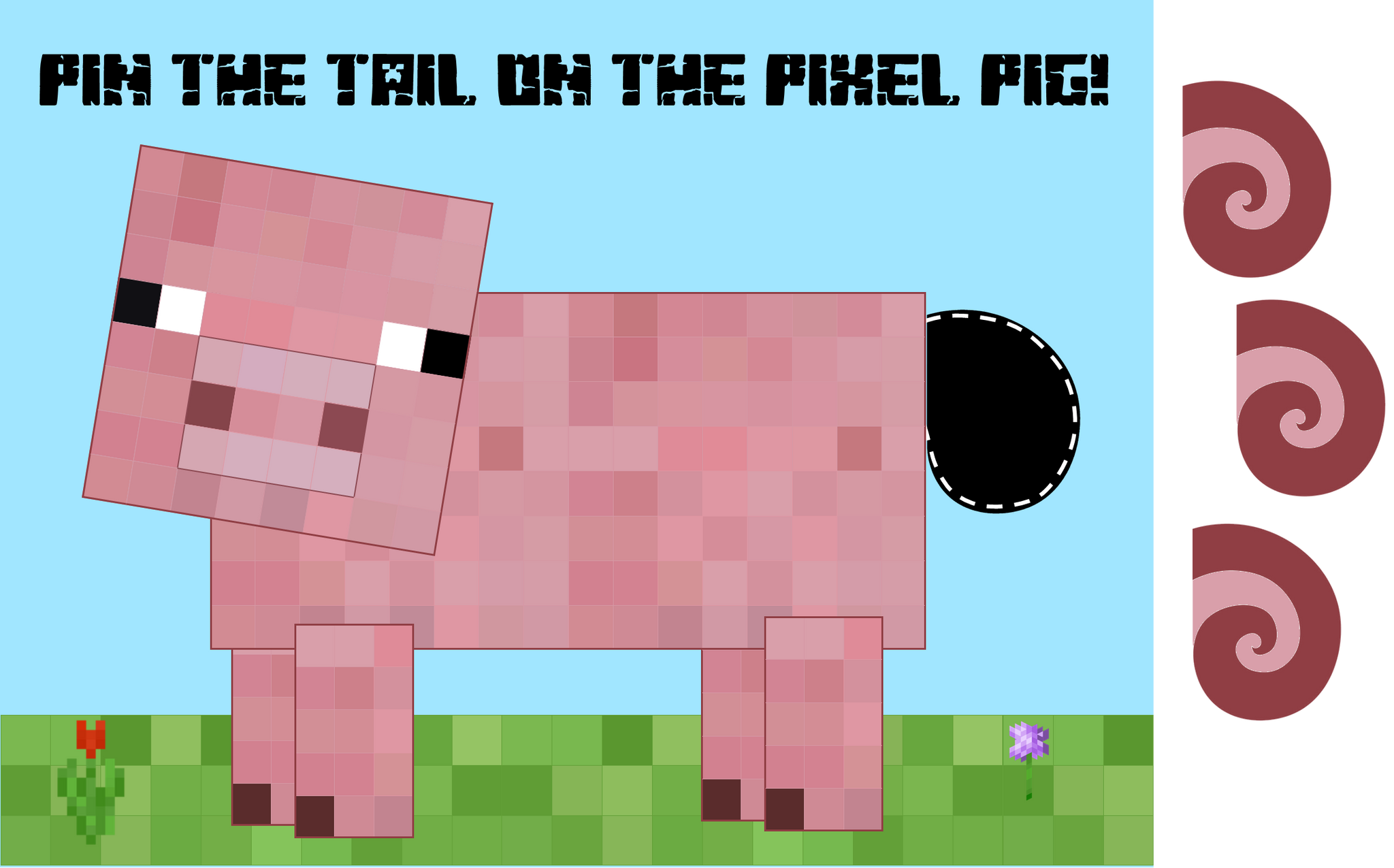 Pin the Tail on the Pixel Pig - Minecraft Party Game