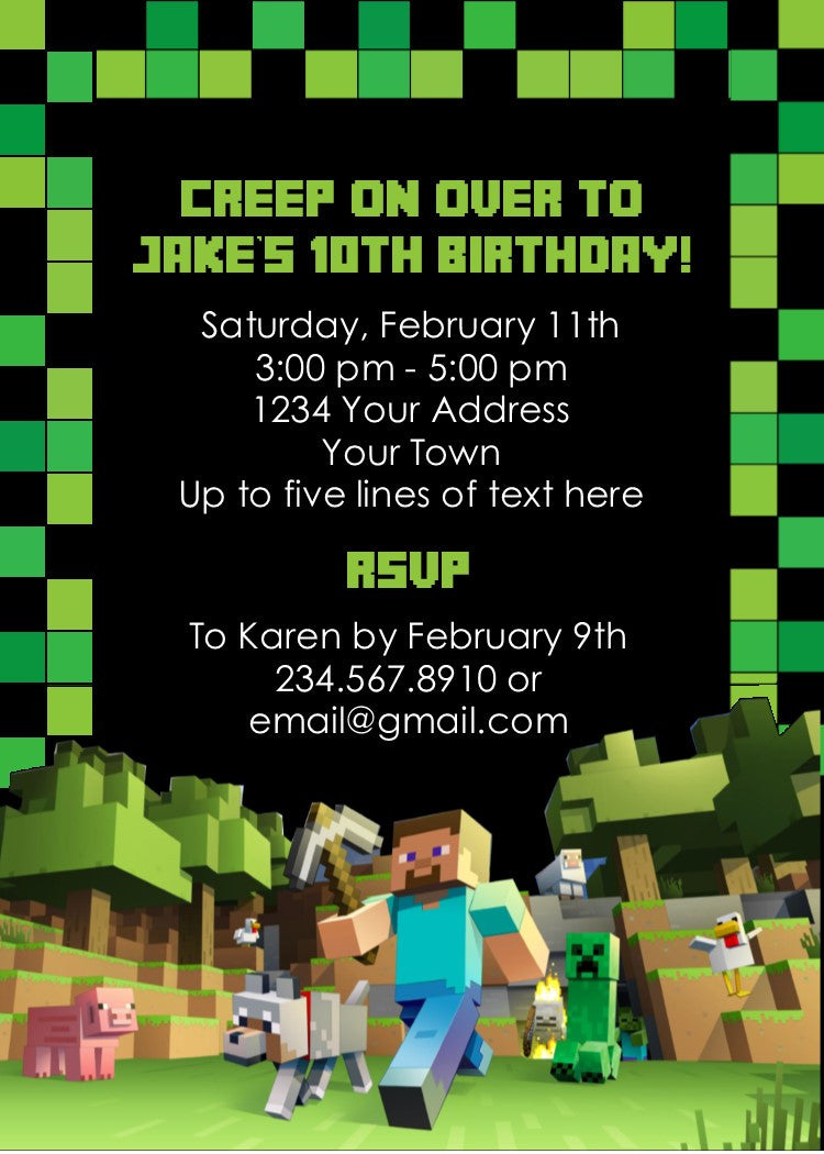 This is a picture of Modest Free Printable Minecraft Invitations