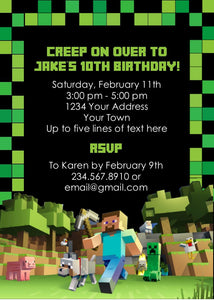 graphic regarding Printable Minecraft Birthday Invitations named Minecraft Get together Invitation - Editable