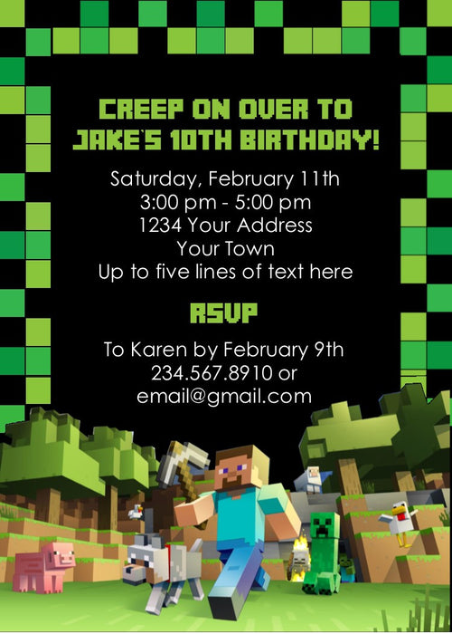 Minecraft party invitation editable partygamesplus minecraft party invitation editable stopboris Images
