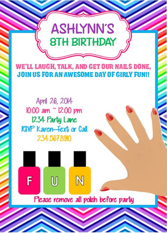 Little Girl Nail Party Invitation - Editable