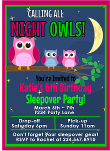 Night Owls Sleepover Invitation - 1 - Editable!