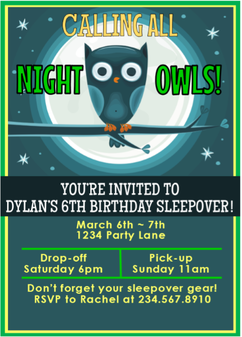 Night Owls Sleepover Invitation - 2 - Editable!