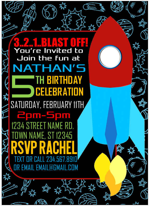 Outer Space Rocket Party Invitation 2