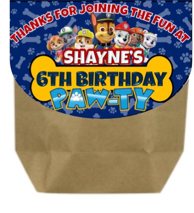 Paw Patrol Party Favor Bag Toppers - PERSONALIZED