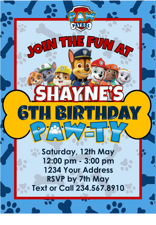 Paw Patrol Party Invitation - PERSONALIZED