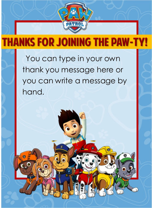 Paw Patrol Party Thank You Notes - EDITABLE