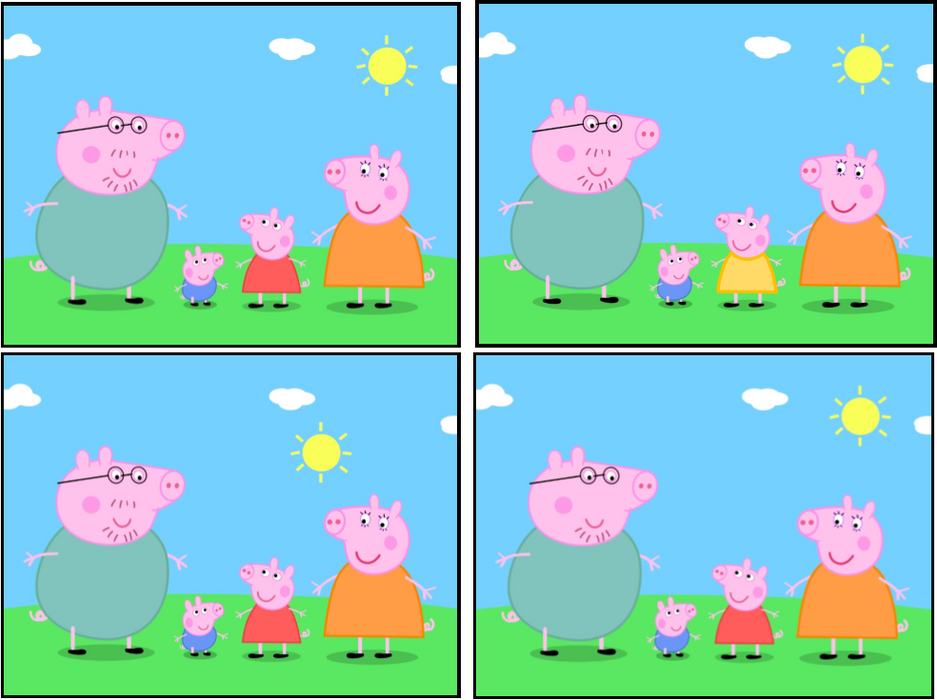 Spot the Difference! Peppa Pig printable party game