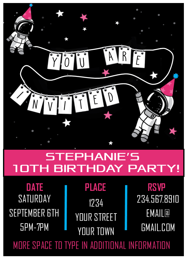 Pink Astronaut Outer Space Party Invitation - EDITABLE