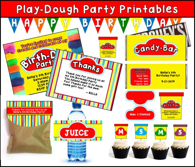 Play-doh Party Printables - EDITABLE!