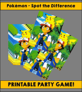 Spot the Difference! Pokemon printable party game