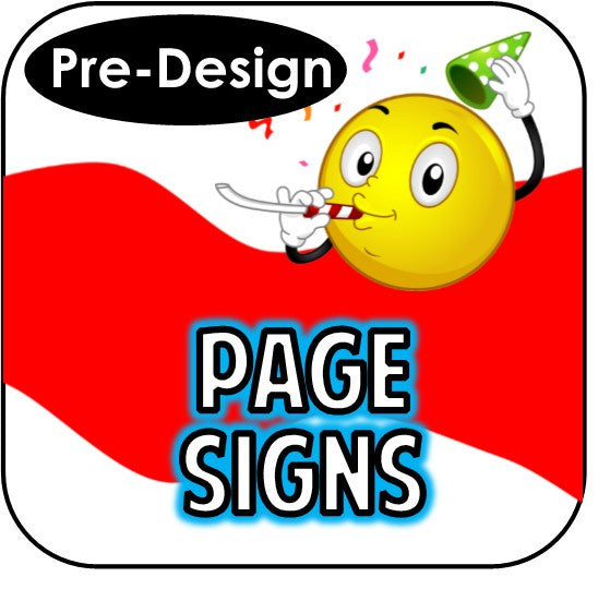Printable Page Signs - Pre-Design