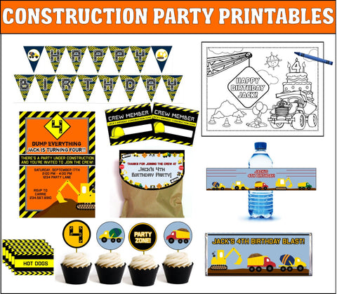 Construction Party Printables - PERSONALIZED