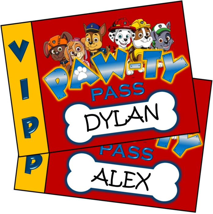 Paw Patrol Party Badges - EDITABLE