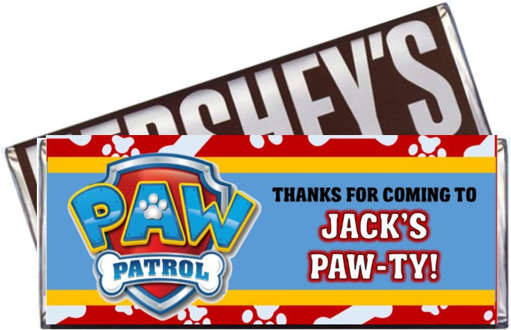 photo regarding Printable Candy Wrappers called Paw Patrol Get together Sweet Bar Wrappers - Custom made