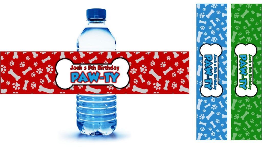 Paw Patrol Party Drink Labels Personalized Partygamesplus