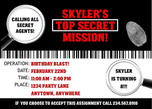 Spy Party Invitation - PERSONALIZED