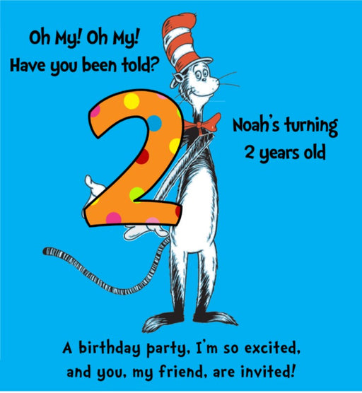 Dr Seuss Storybook Party Invitation - PERSONALIZED