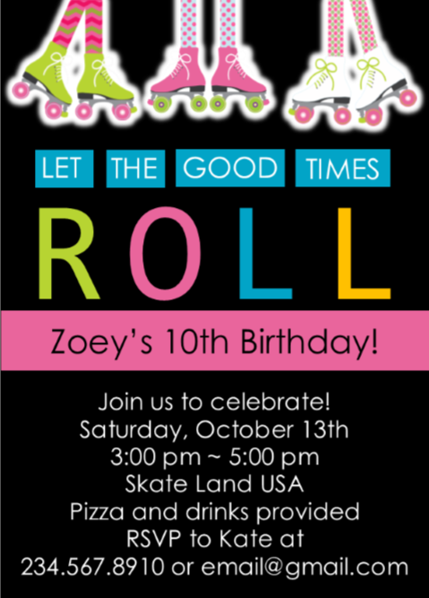 Skate Party Invitation 2 - Editable