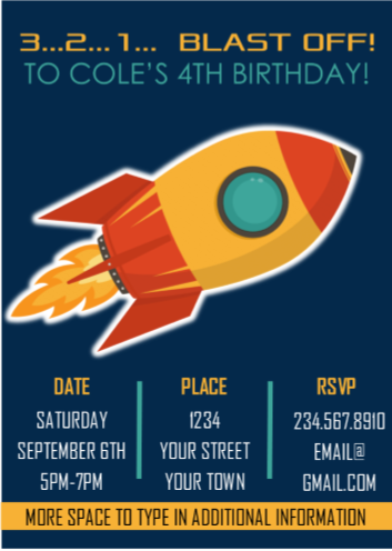 Outer Space Rocket Party Invitation
