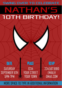 graphic about Printable Spiderman Invitations called Spiderman Superhero Social gathering Invitation - Editable!