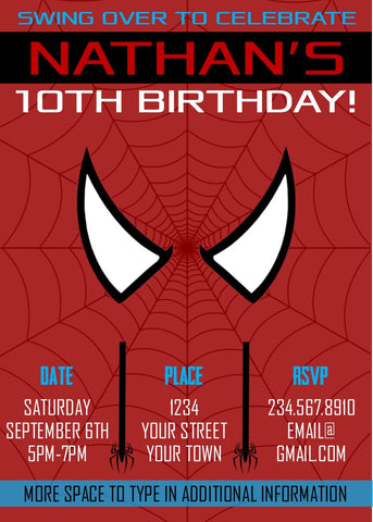 Spiderman Superhero Party Invitation - Editable!