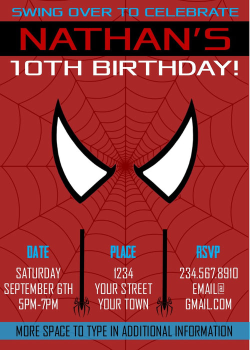 Spiderman Superhero Party Invitation