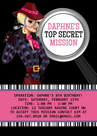 Spy Girl Detective Party Invitation - Editable!