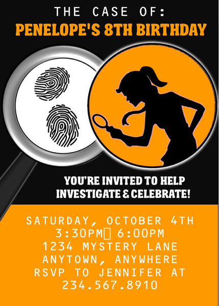 Girl Spy Party Invitation - EDITABLE