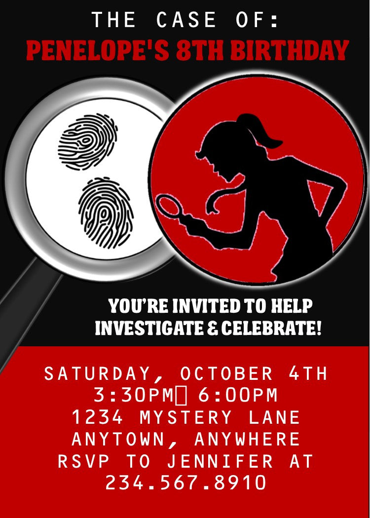 graphic about Spy Party Invitations Printable Free named Lady Spy Social gathering Invitation - EDITABLE
