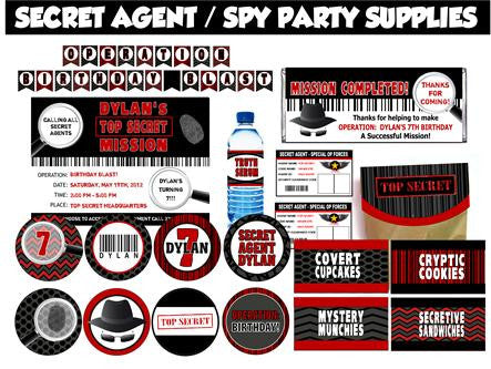 Spy - Secret Agent Party Set - EDITABLE!