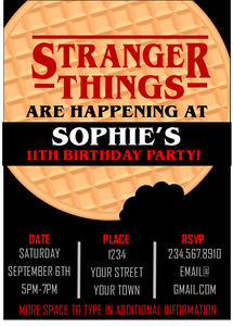 Stranger Things Party Invitation - Editable