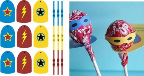 Superhero Lollipop Wrapper Favors
