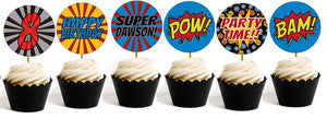 Superhero Cupcake Toppers - PERSONALIZED