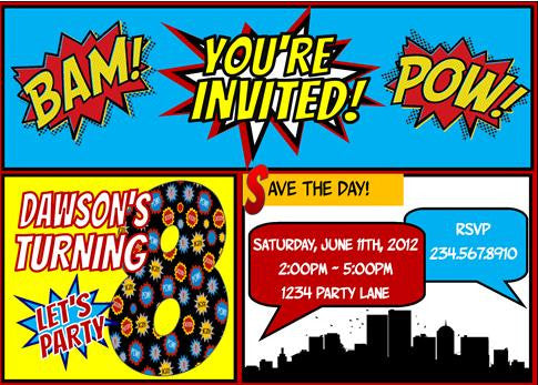 superhero invitation personalized partygamesplus