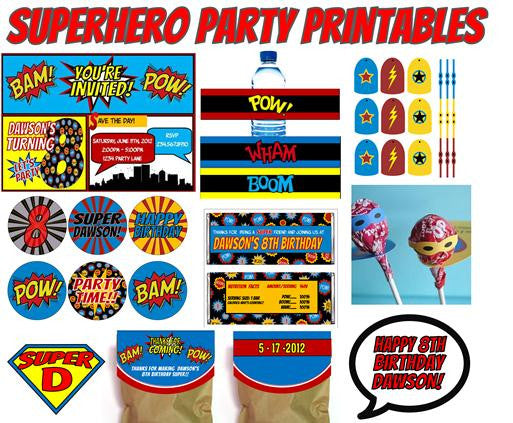 Superhero Party Printables - PERSONALIZED